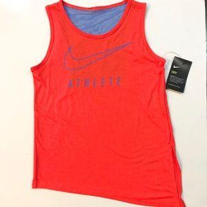 Girls Nike Dri-Fit Orange Blue Tank Top Sz Med NEW